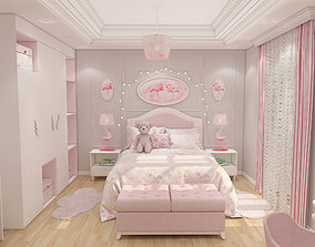 3D model interior girls bedroom