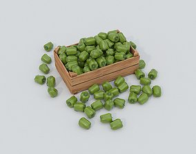 3D asset Wooden crate and green peppers