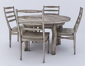 3D model Round table and Chairs - aged wood