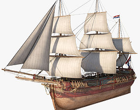 Dutch Galiot With Sails 3D model