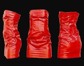 Red Shiny Dress 3D asset VR / AR ready