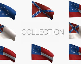 3D Confederacy Flags Collection
