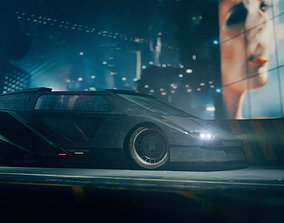 3D Retro Futuristic Cyberpunk Car