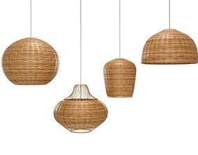 3D model wicker Bamboo Lamp