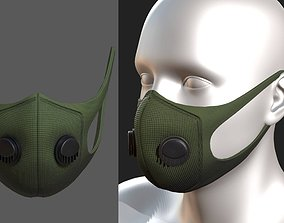 Gas mask protection fabric isolated military 3D asset