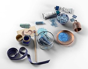 3D model Blue Painting Workplace Composition
