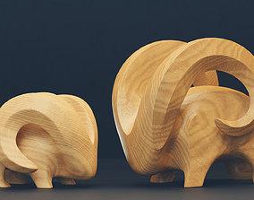 Modern abstract pair of goats 3D asset