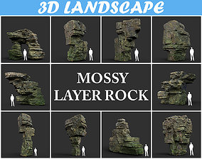 3D asset Low poly Mossy Layer Rock B
