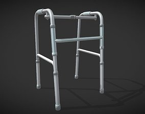 3D model Disabled four-legged crutch old man walker