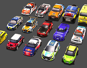 realtime Low Poly Rally Car Pack Low-poly 3D