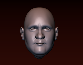 Male head 10 - fat face 3D printable model