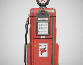 3D asset Gas Pump - Texaco 60s Used
