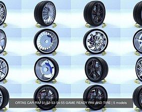 ORTAS CAR RIM 51-52-53-54-55 GAME READY RIM AND TIRE 3D