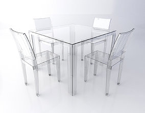 3D model Kartell Transparent Table and Chairs Set