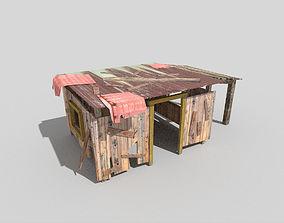 3D model low poly beach hut 3
