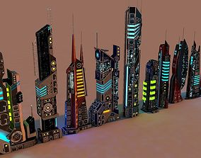 3D asset SCI FI FUTURISTIC CITY Package