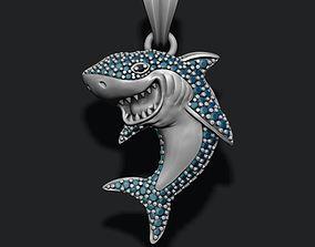 3D printable model Shark pendant basrelief with gems