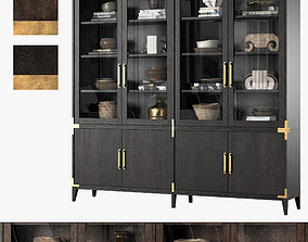 CAYDEN CAMPAIGN 4-DOOR GLASS SIDEBOARD and HUTCH Dark 3D