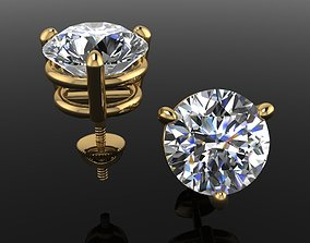 3 Prong Solitaire Earring Stud 3D printable model 1