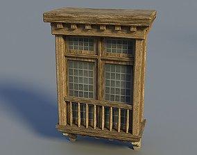 3D model Wooden window 02