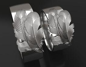 3D printable model 2 Feathers wedding rings - original