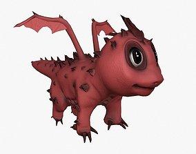 3D asset Rigged little cute dragon
