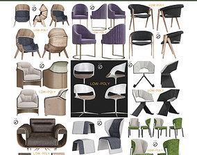 Chair collection 10 pieces 3D asset