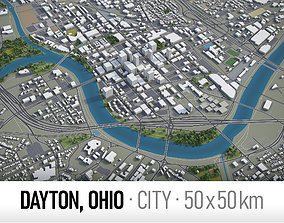 3D asset VR / AR ready Dayton - city and surroundings