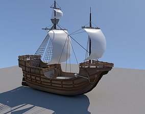 Free pirate ship remastered 3D model