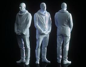 3D model VR / AR ready Man Waiting Low Poly
