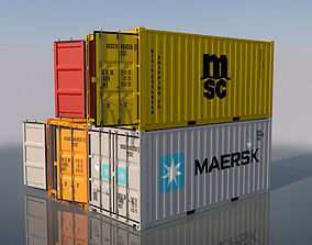 3D model Shipping Container 20ft Rigged