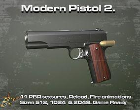 Modern Pistol 2 3D asset animated