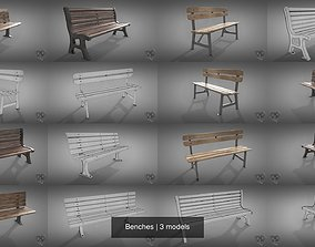 Benches 3D model PBR