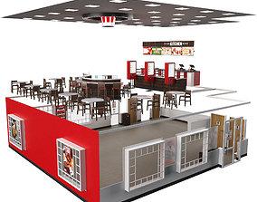 3D KFC interior cafe