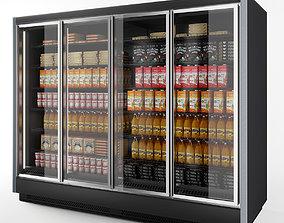 food 3D Vertical Glass Door Fridge Black