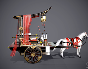 Luxurious Chinese classical carriage coach cab 3D asset 1