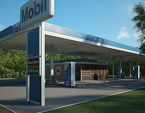 3D model Mobil gas station 001