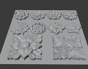 3D model Wood-carving floral collection