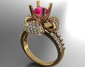 floral solitaire ring 3D print model