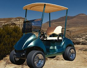3D luxury detailed low poly golf cart model