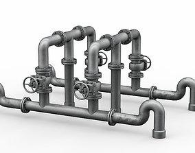 Industrial pipe assembly v4 3D model