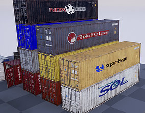 Shipping Containers with various skins 3D asset