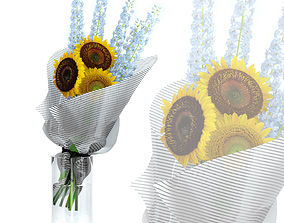 Sunflowers and Delphinium 3D model