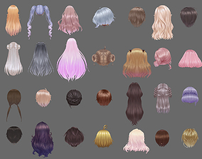 long hair hair style girl short hair cape 3D model 1