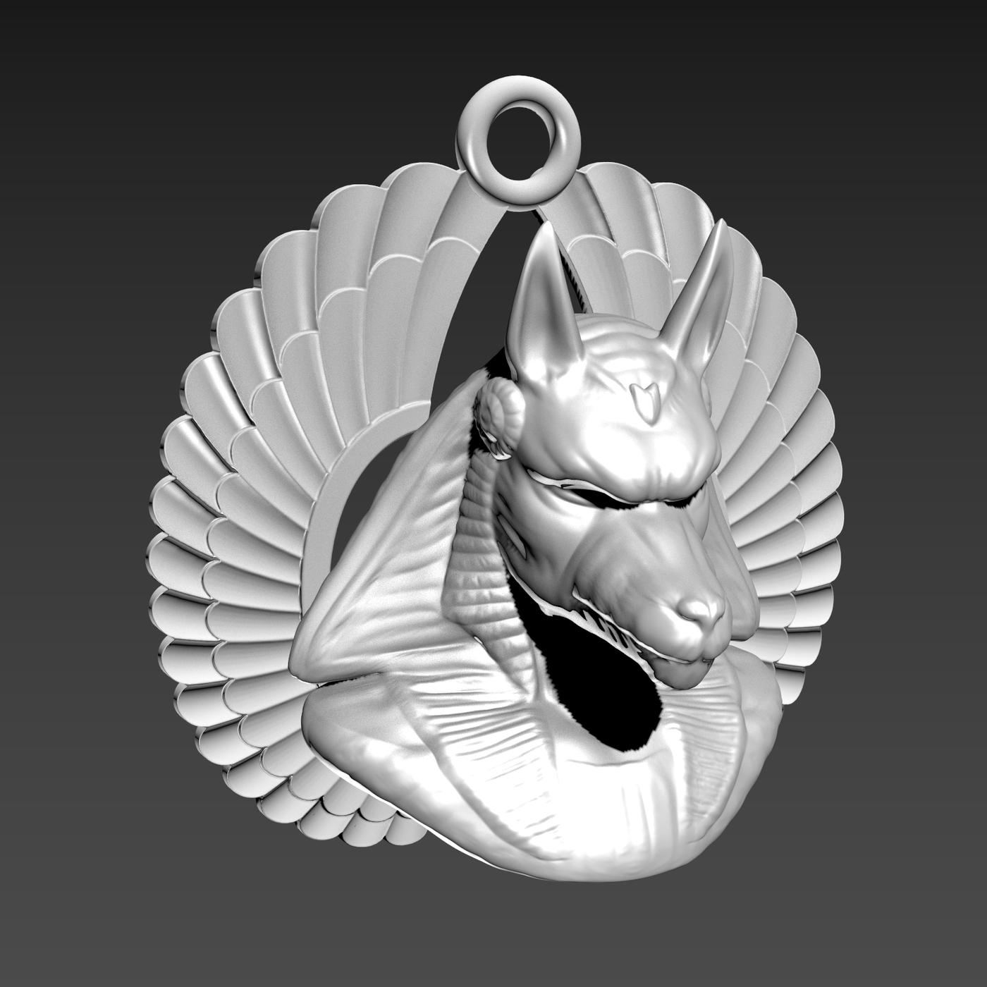 Anubis bust wing Sculpture Egyptian symbol pendant jewelry 3D print model