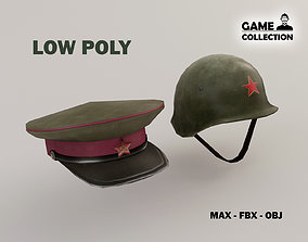 Chinese military Hats Lowpoly 3D model