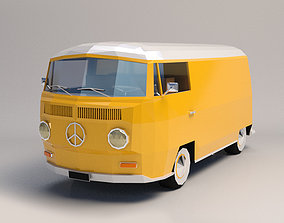 Low Poly Transporter Van 01 3D asset