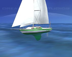 3D model 30 Foot Cutter Rigged Sloop V05