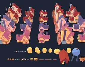 3D asset Cartoon country village kit