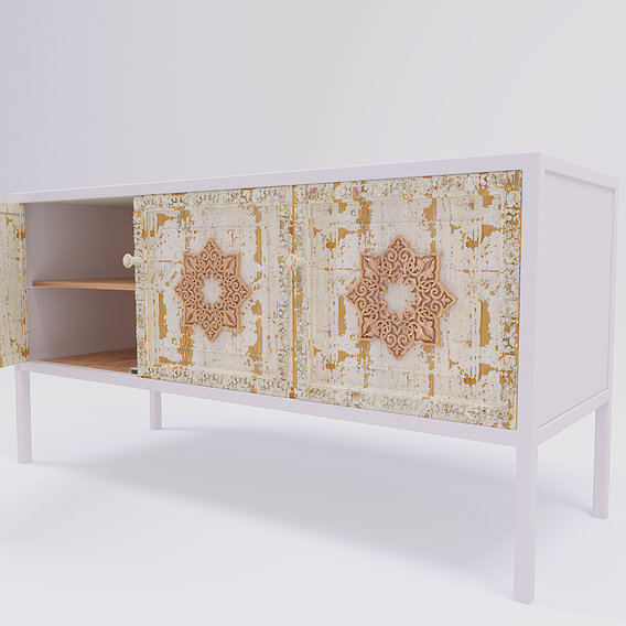 3 doors sideboard white metal and mango wood